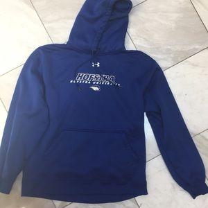 Blue Under Armour hoodie.  Hofstra University.